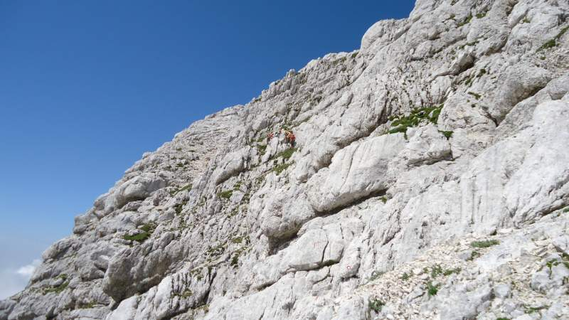 A family in the ferrata wall.