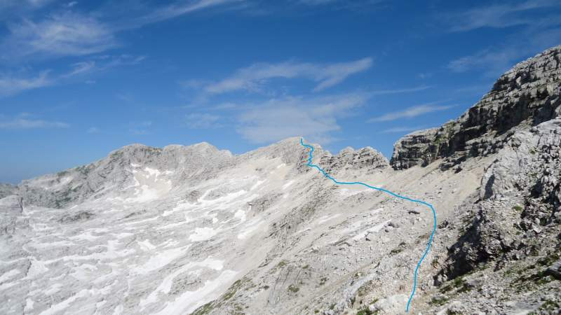 The main summit and the route.
