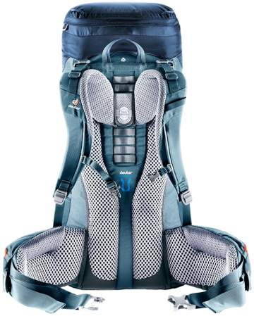 Central ladder type torso adjustability in Deuter Aircontact packs.