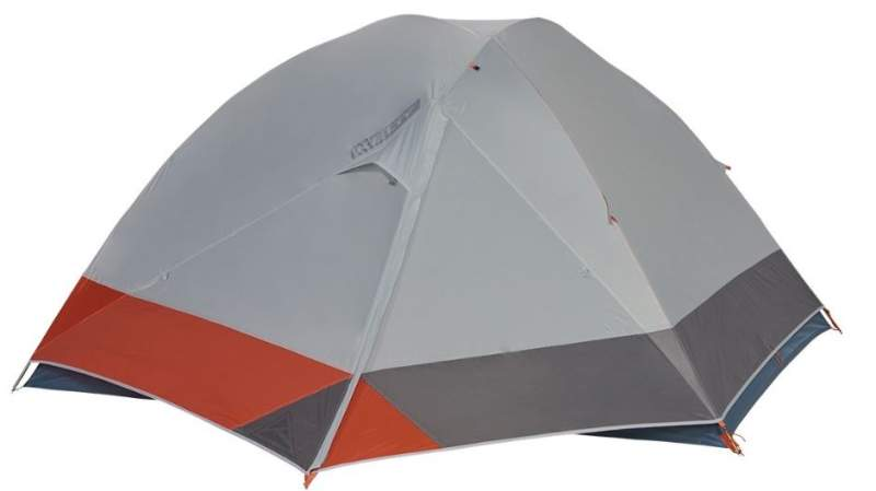 The tent with the fly on and with the closed vestibule.