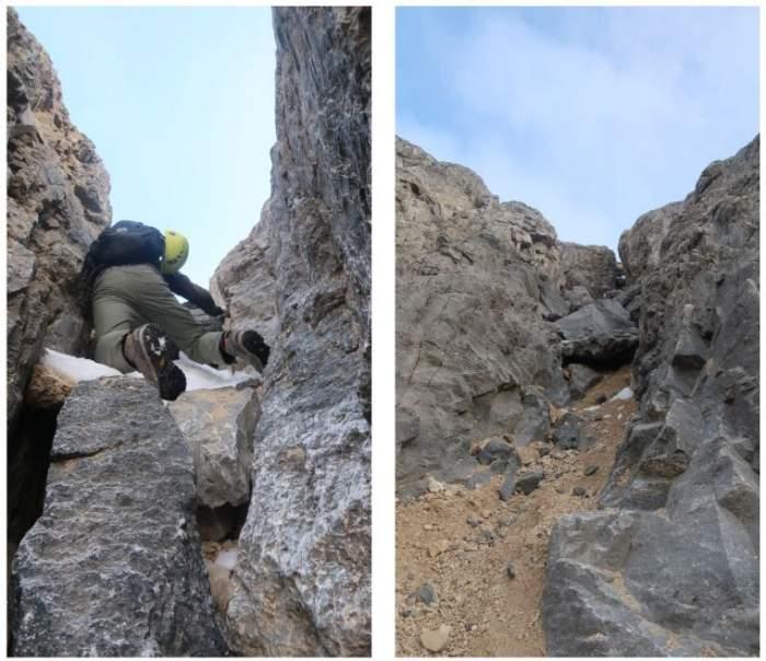 Carefully ascending Gully 2 – not an easy task.