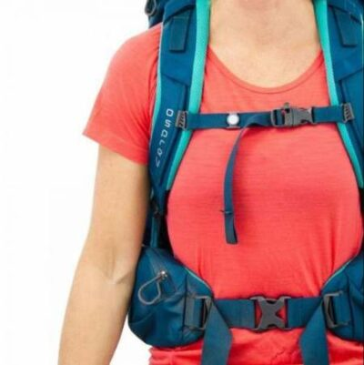 Sternum strap with a whistle.