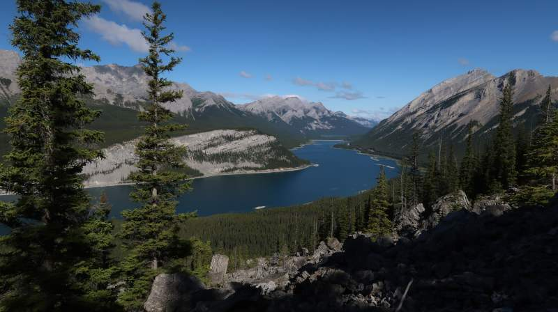 First views of the Spray Lakes Reservoir.