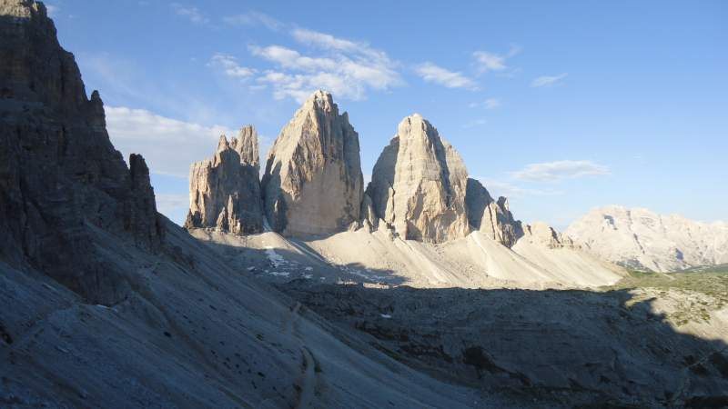 View back towards the Tre Cime from the route to Locatelli Hut.