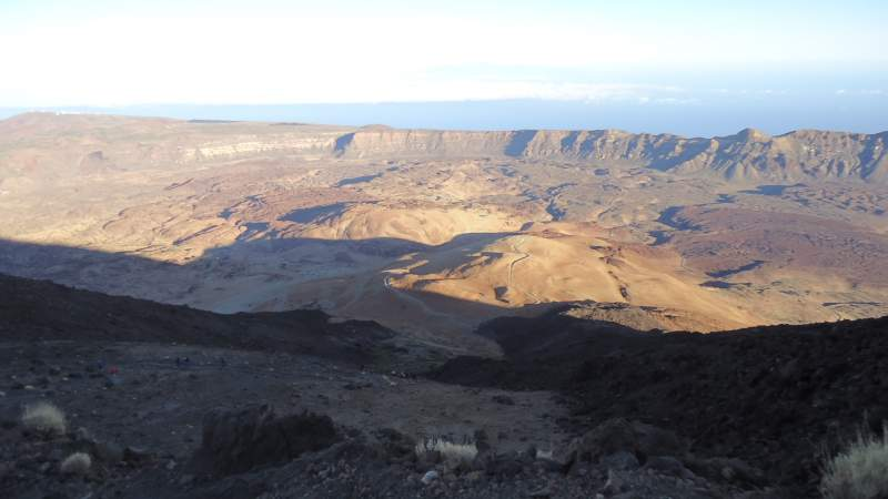 View of the big crater where the route starts.