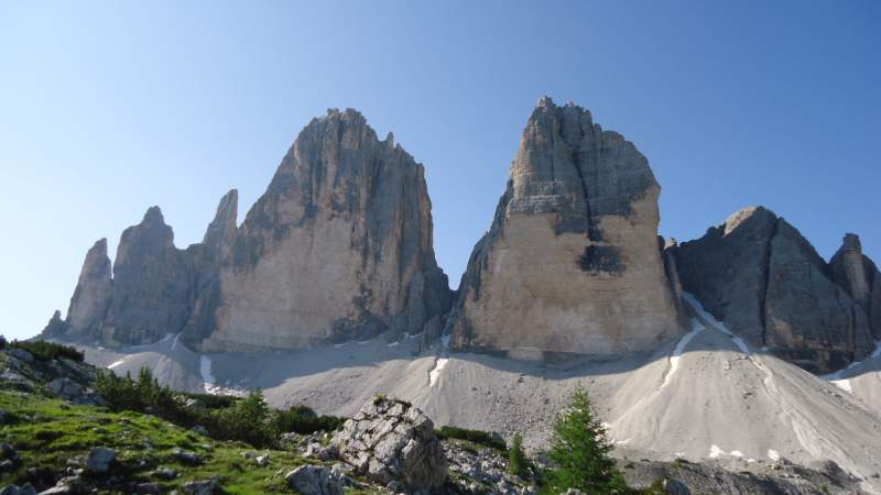 The Tre Cime as seen from the north.