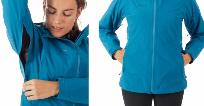 Pit zips and two zippered hand-pockets.