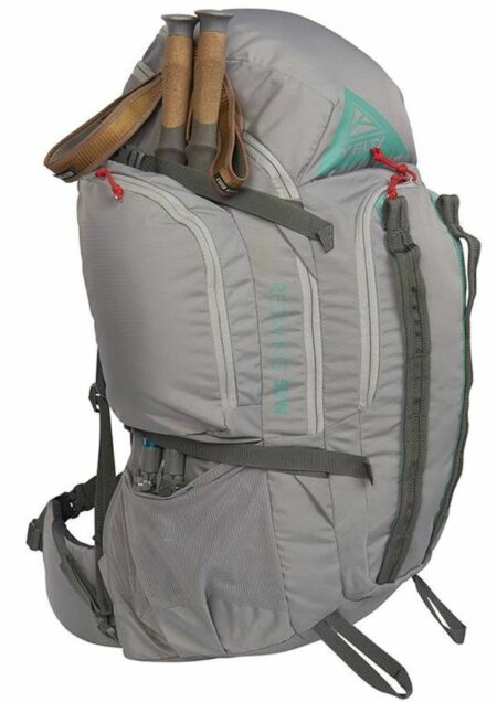 Dual side mesh pockets + dual side wing pockets + dual pass-through pockets.