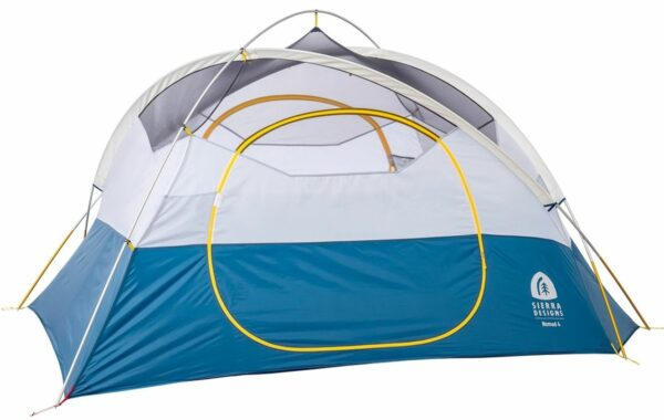 This is Nomad 4 tent shown without the fly, with poles and doors visible.