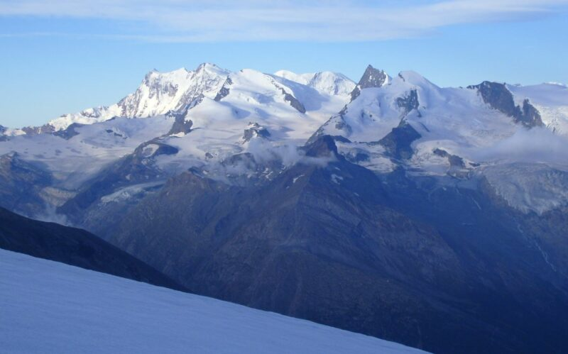 View of Monte Rosa group from 3600 meters elevation on the tour to Fletschhorn.