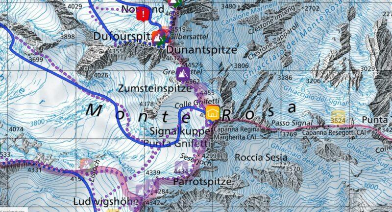 The Cole Gnifetti area on the Swiss-Italian border.