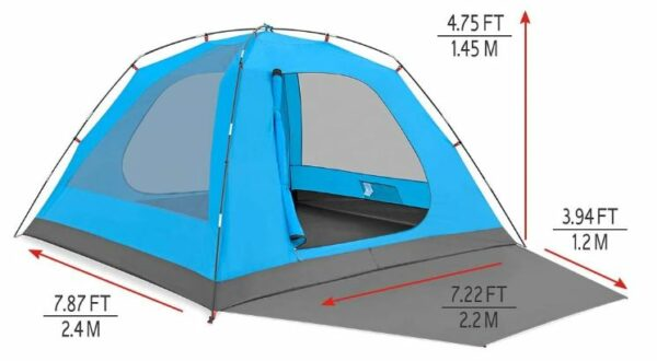 The tent shown without the fly and its dimensions.