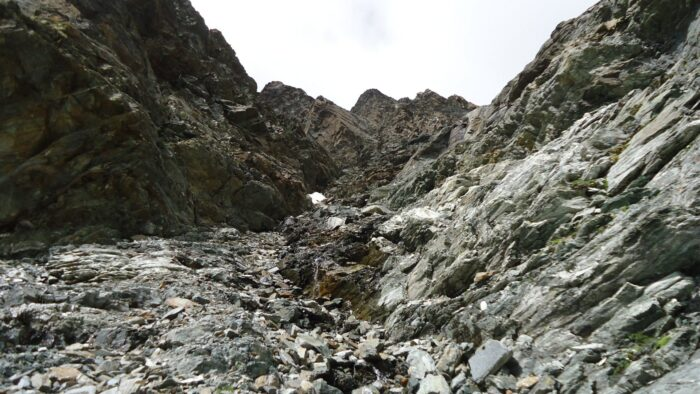 This is the couloir, much steeper in reality, and lots of unstable rock.