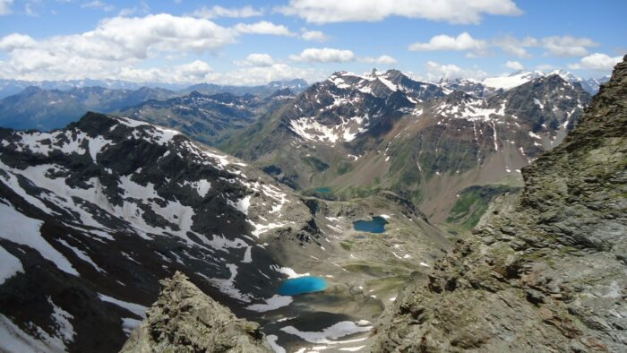Lakes as seen from the lower rock section (couloir).