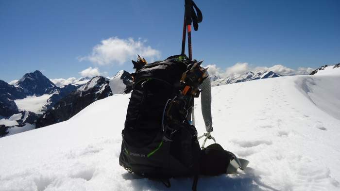 My day pack and crampons.