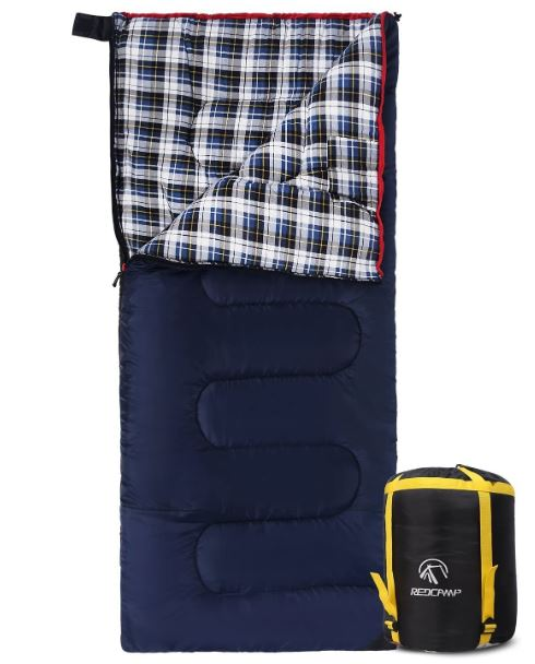 REDCAMP Cotton Flannel Sleeping Bag for Camping 50F/10C