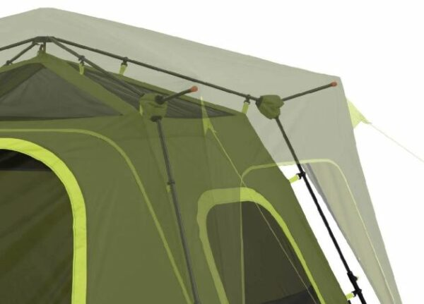 The eaves separate the fly from the tent.