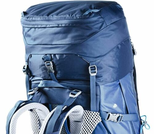 This is how the Deuter pack looks with its expanded collar and the floating lid.