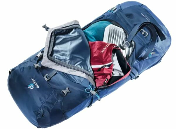Wide front access to the Deuter Futura Vario 50+10 backpack.