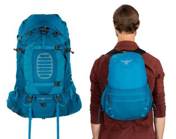 The daypack on the right that is created from the top lid of the main pack.