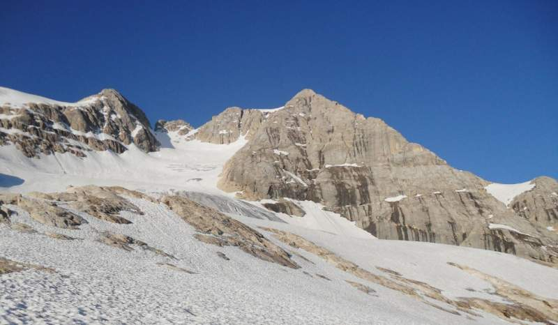 Marmolada normal glacier route from the north.