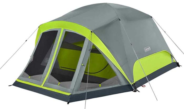 Coleman Camping Tent Skydome 4 Person with Screen Room.