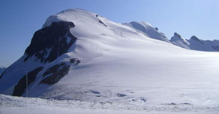 Breithorn - view of the summit from the area of lift station.