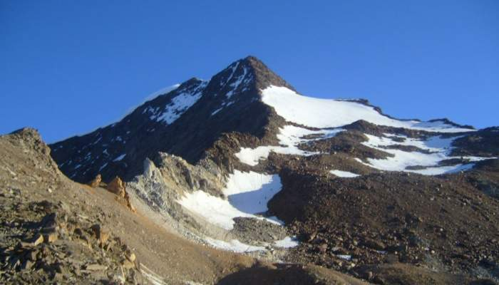 Weissmies as seen from the southeast side route.