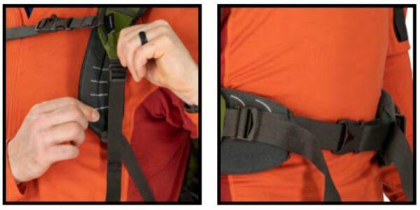 Adjustable padding on the shoulder harness and the hip belt.