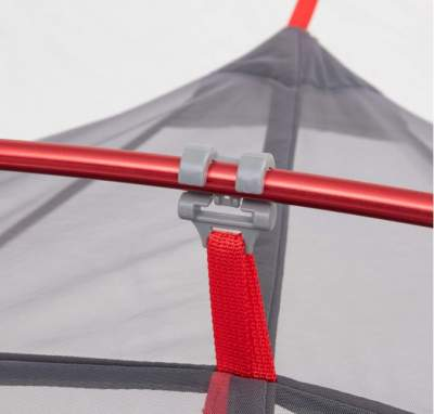 Clips on the canopy.