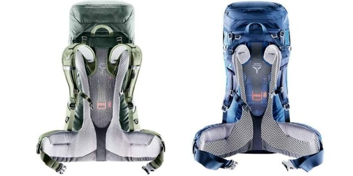 The suspension systems, Air Trek left and Vario pack right.