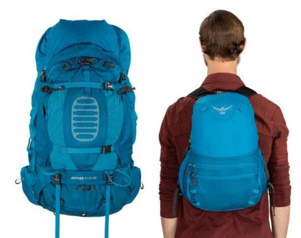 DayLid daypack and the main pack in lidless use.