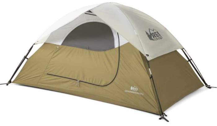 REI Co-op Groundbreaker 2 Tent front view with the fly on.