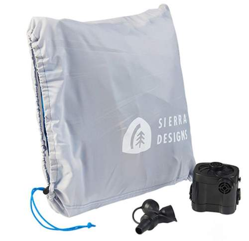 The included pump and the pad in its stuff sack.