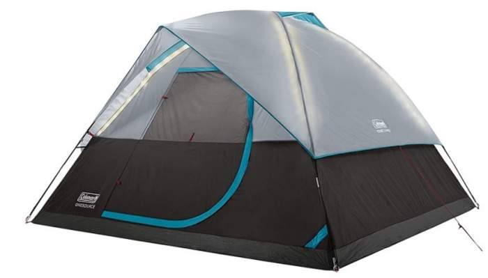 Coleman OneSource Rechargeable 4-Person Camping Dome Tent with Airflow System & LED Lighting.